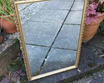 Gold Ornate Mirror, Vintage Golden Mirror Wood Plaster Mirror