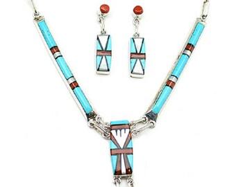 Zuni Inlay Necklace Set