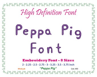 peppa pig  Embroidery font 8 size