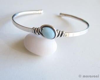 Ethnic bracelet - amazonite - blue - silver plated