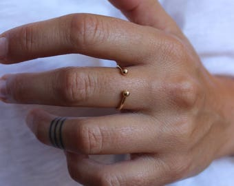 Ring gold plated, Pearl ball ring, knuckle ring Pearl, bead Adjustable ring gold