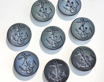 Set of 8 Vintage Traditional Pea Coat Buttons