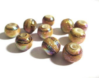 10 Brown Pearl shiny glass 8mm (6)