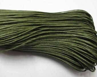 5 meters of cotton khaki green waxed thread 1 mm