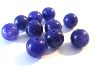 dark purple natural jade (6) 2 x 8mm 10 beads