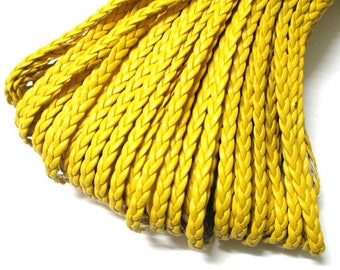 5 m yellow faux leather braided 5x2mm
