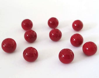10 red painted glass 8mm beads