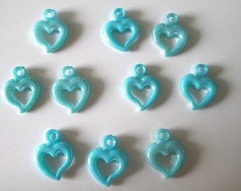 10 pendants blue ab acrylic heart color 20 x 14 mm