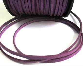 5 m cord suede purple glittery 3 mm