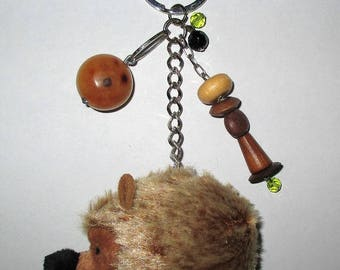 Bag charm Hedgehog with wood and glass beads / unique Piece!