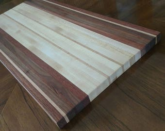 "Butcher Block Cutting Board with three or more species.  Each one is an original.  11""x17"".  Apx1"" thick. Beautiful addition to any kitchen."