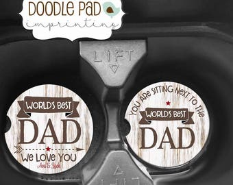 Father's Day Gift, World's Best Dad, Personalized Car Coaster,