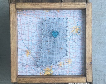 Mapped State or Country String Art Sign, MADE TO ORDER