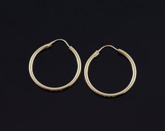 23.1mm Tube Hoop Earrings Gold