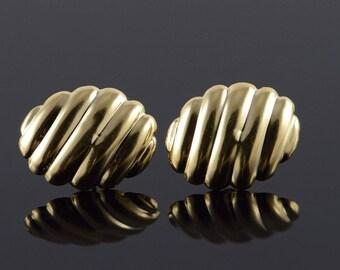 14k Scallop Oval Stud Earrings Gold