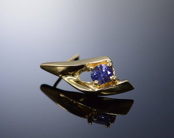 14k 0.40 Ctw Tanzanite Scallop Earrings Gold