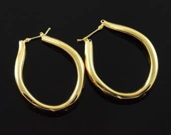 14k Large Hollow Hoop Earrings Gold
