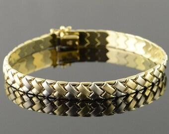"14k Heavy Basket Weave Link Bracelet Gold 8.25"""