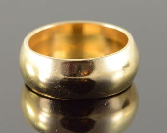 14k Heavy 7.9mm Wide Wedding Band Ring Gold
