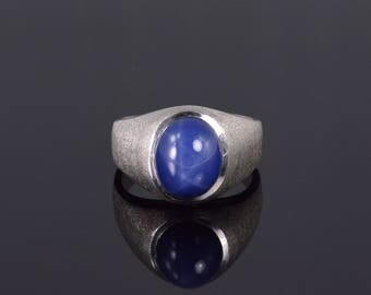 10k Star Sapphire* Oval Textured Mens' Band Ring Gold