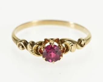 10k Ruby* Ornate Scroll Design Statement Ring Gold