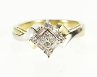 10k 0.25 Ctw Two Tone Diamond Cluster Engagement Ring Gold