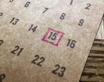 Square monthly calendars // save the date// calendar // small // hand stamped // save the date // desk top calendar