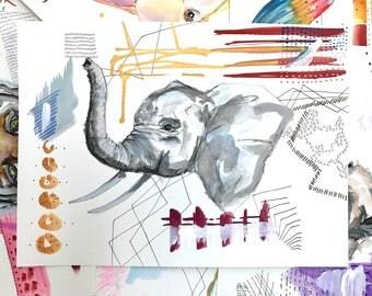 Fancy Watercolor Animal - Elephant