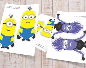 DIY PRINTABLE Minions Centerpiece | Minion birthday party or baby shower | Despicable me centerpiece | Minions kids room - Nursery decor!