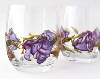 Handpainted glasses Lisanthus. Set of 2 personalised whiskey glasses. Gift for any occasion. Stemless wine glasses