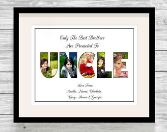 Bespoke Personalised Uncle Photo Collage Print Father's Day Birthday Gift
