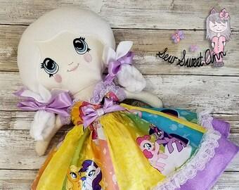 Cloth Doll - Rag Doll - Fabric Doll - Dress up Doll - Anime Pony Collector Doll - Geek Chic - Lolita Doll