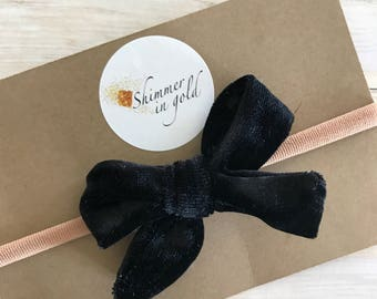 Black Velvet Hand Tied Baby Bow , Hand Tied Velvet Baby Bows , Velvet Baby Bows , Classy Velvet Bows for Baby or Toddler