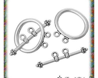 10 sets of toggle clasps twice silver aged