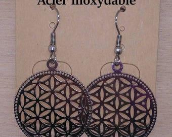 1 pair of earrings flower of life engraved stainless steel