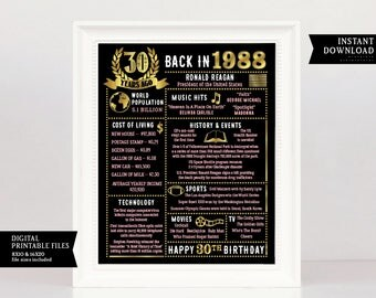 30th Birthday Chalkboard, 30 Years Ago in 1988, 1988 Poster Born in 1988 30th Birthday Gift 1988 Birthday Poster, 30th Birthday Gift