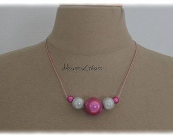 Magical white and fuchsia, Bead Necklace