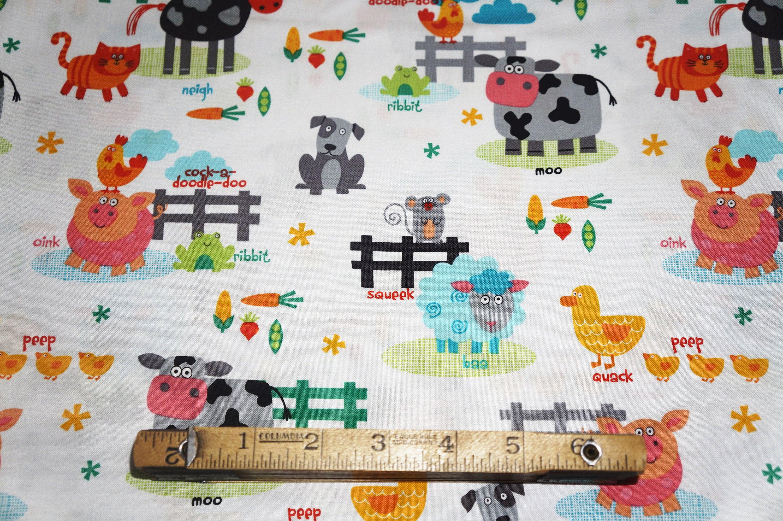 funny farm cotton quilt fabric studio e diane eichler barnyard by