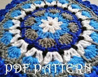 Crochet Mandala Doily PDF Pattern Blue Orange
