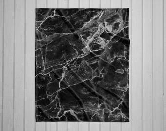 Black Marble plush throw blanket with white back
