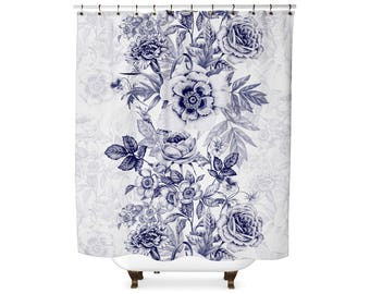 Navy Floral  shower curtain