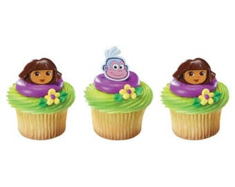Dora the Explorer Dora and Boots Cupcake Rings - 24 Rings