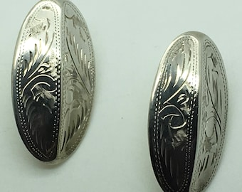 Vintage Sterling Silver Puffy Etched Oval  Earrings Pierced Stud Button Style Gift For Her Stocking Stuffer Birthday Anniversary
