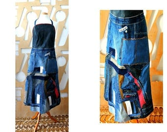 Upcycled Denim Apron Bustier Vintage jeans Wrap Pinafore Patchwork Unique Red Grunge Hippie Boho Repurposed Denim Cafe owner Denim dress