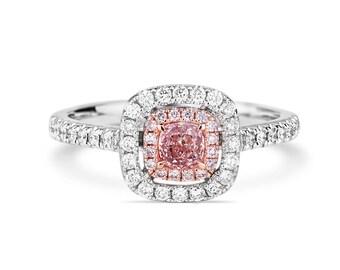 Pink Diamond Ring, Diamond Engagement Ring, 18K white gold Ring, Radiant cut Engagement Ring, Halo Diamond Ring, Pave Diamond Ring, Diamonds