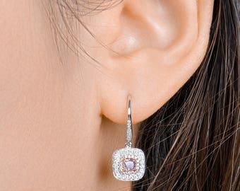Gold and Diamonds Earrings, Pink Diamond Earrings, Diamond Earrings , Jewelry for her,  Teardrop Earrings, pink earring, earring