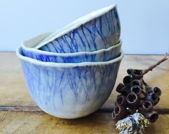 Ceramic bowls - Small bowls - Stoneware bowls - Blue bowls - Pottery bowls - Set of bowls