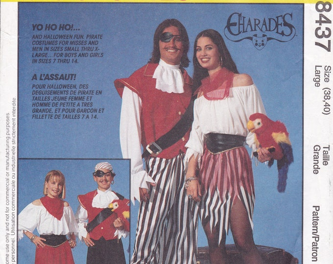 FREE US SHIP Sewing Pattern McCall's 8437 Adult Costumes Uncut Halloween Pirate Sea Wench unisex Chest Bust 38 40 Out of Print 1996
