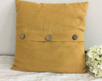 Mustard Euro Sham Cover with Wooden Button Closure, Natural Linen - all sizes, 12x16, 16x16, 18x18, 20x20, 24x24, 26x26