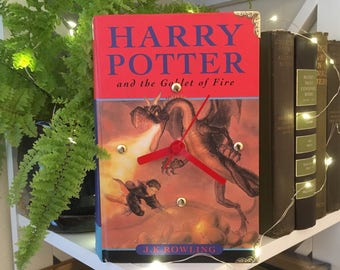 Book Clock, Harry Potter and the Goblet of Fire//J.K Rowling//Dragon//Hogwarts